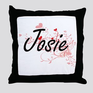 Josie Artistic Name Design with Heart Throw Pillow